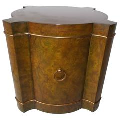 Mastercraft Green Olive Burl Quatrefoil Drum End Table