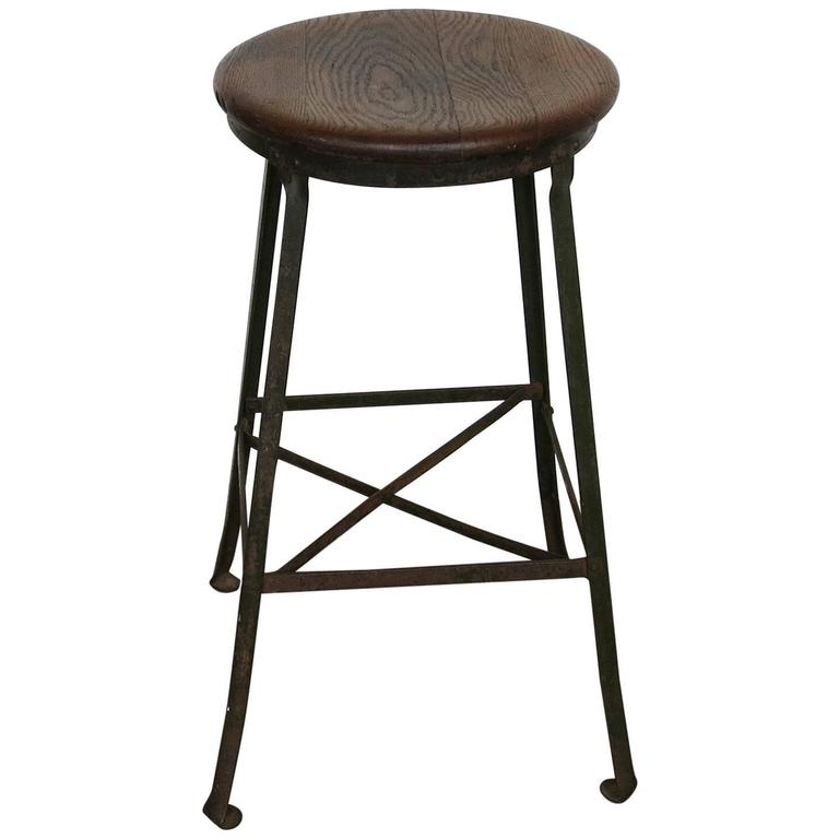 Vintage Industrial Stool Angle Steel Co., 1940s For Sale