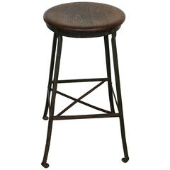 Vintage Industrial Stool Angle Steel Co., 1940s
