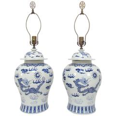 Pair of Blue and White Ginger Jar Lamps with Dragon Motif