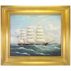Nautical Oil Portrait of a Clipper Ship by Listed Artist Matt Thomas