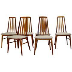 Danish Modern Teak High Back Set of Six Dining Chairs by Koefoeds Hornslet