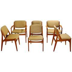 "Arne Vodder ""Ella"" Tilt-Back Dining Chair Set, Four Side and Two Armchairs"