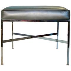 Modernist Chrome and Upholstered Stool or Ottoman by Paul Mccobb