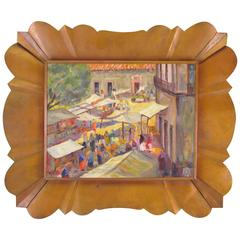 Modernist Mexican Oil of a Market Scene in Copper Frame Signed R. Maya