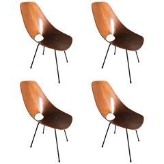 Fantastic Set of Four Vittorio Nobili Medea Chairs, circa 1960