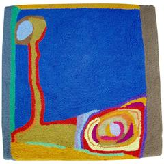 Modernist Abstract Colorful Textile Rug or Wall Hanging, circa 1970s
