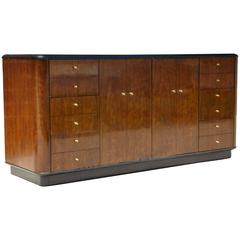 Modernist Walnut And Black Lacquered Credenza Or Cabinet After Mastercraft
