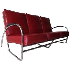 Royal Metal Chrome Three-Seat Art Deco Sofa with Original Cushions