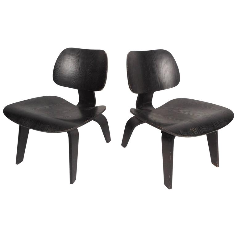 Pair of Charles Eames DCW Chairs for Herman Miller