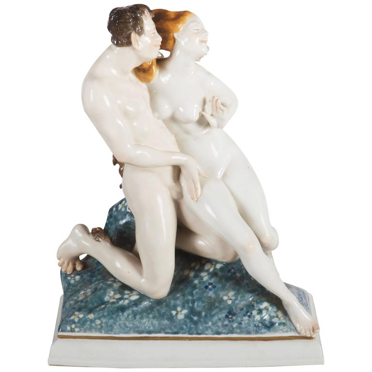 """Rare Art Deco Figurine by Karl Ens """"Satyr and Nude"""""""
