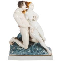 "Rare Art Deco Figurine by Karl Ens ""Satyr and Nude"""