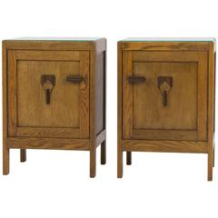 Stylish Pair of Art Deco Amsterdam School Nightstands, 1920s