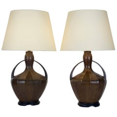 Pair of Early 20th Century Patinated Brass Table Lamps