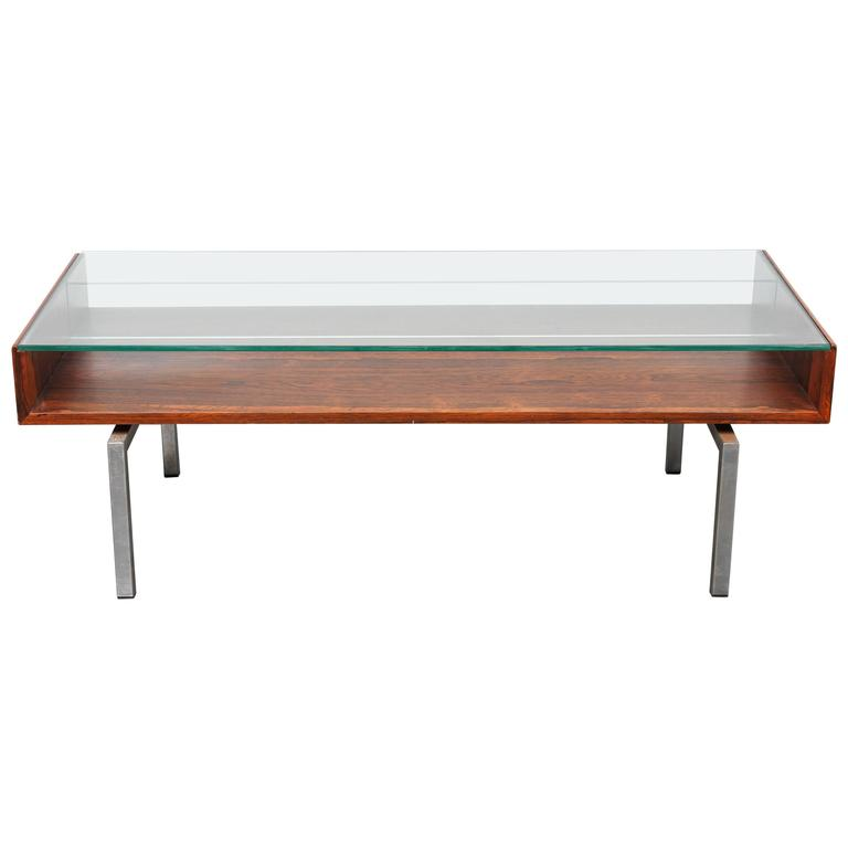 Mid-Century Modern Danish Rosewood Glass Top Coffee Table