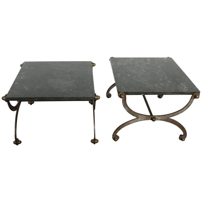 French Industrial X Based Steel Brass and Marble End Tables