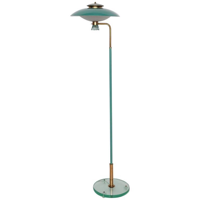 Green Enamel Midcentury Italian Floor Lamp 1
