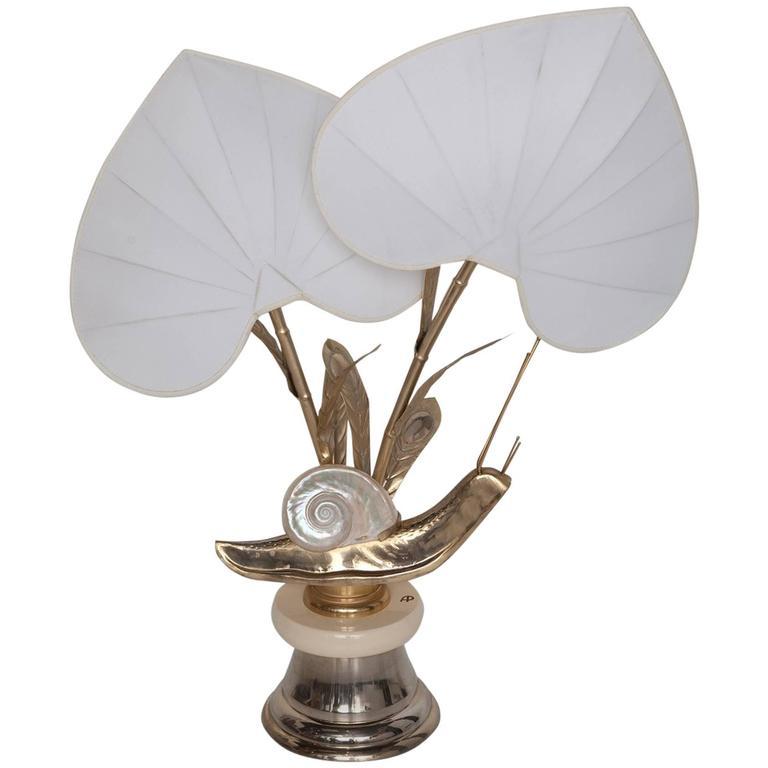 Monumental Brass Snail Table Lamp by Antonio Pavia