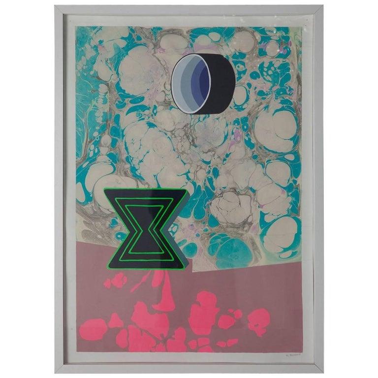 Michelle Weinberg Gouache on Marbleized Paper 1