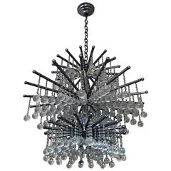 Modernist Glass Drops Chandelier, circa 1970s