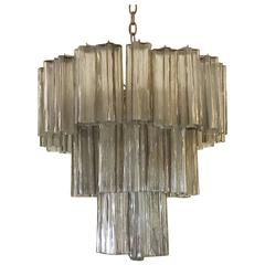 Vintage Murano Glass Tronchi Three-Tier Chandelier Venini