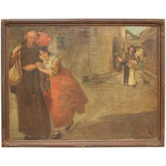 Rare Turn of the Century Very Large Spanish Painting with Beautiful Signorita