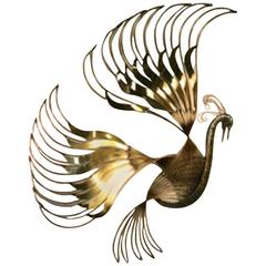 Pretty Peacock Wall Sculpture with Beautiful Brass Feathers by Curtis Jere