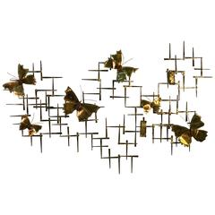 Monumental Mixed-Metal Nail Wall Sculpture with Butterfly Accents by Curtis Jere