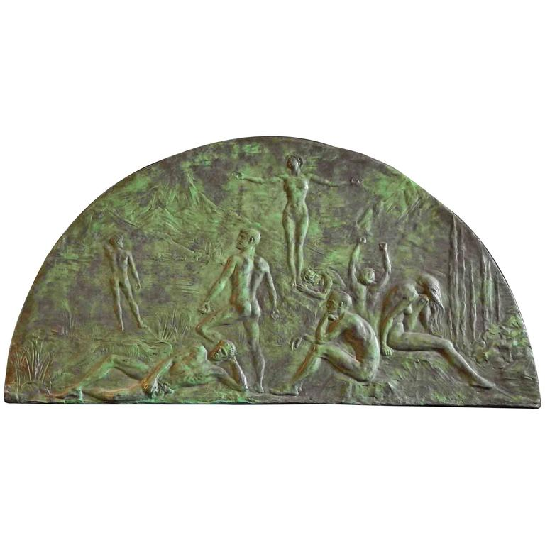 """Nondum,"" Remarkable Art Deco Bronze Sculptural Panel with Multiple Nudes For Sale"