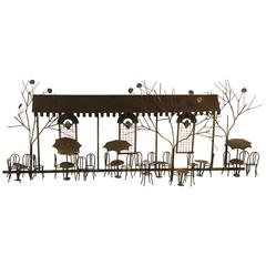 Wonderful Brass and Copper Wall Sculpture of an Outdoor Cafe by Curtis Jere