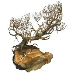 Beautiful and Rare Sculpture of a Tree on a Stone Base Signed Curtis Jere