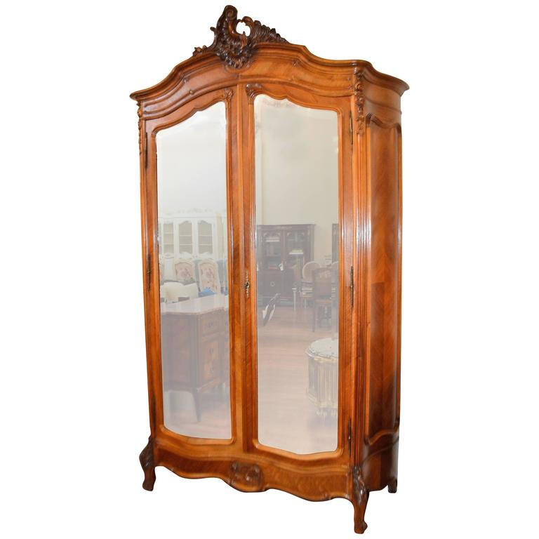 Louis XV Style Two Mirror Doors Walnut Armoire with Amazing Hand-Carved Detail