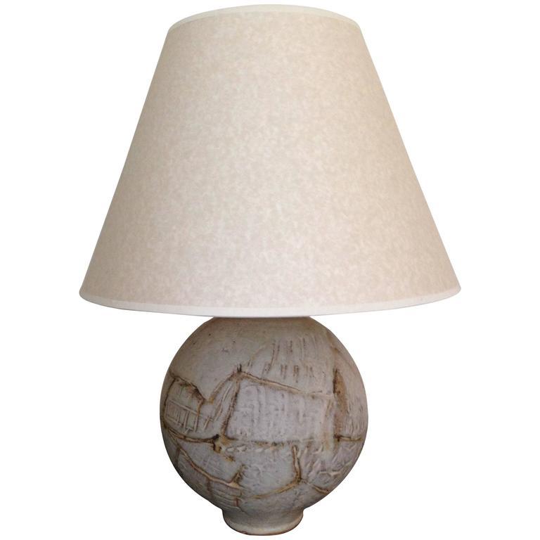 Heavy Glazed Ceramic Spherical Table Lamp, English, circa 1960s