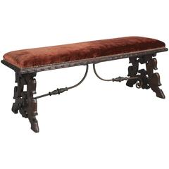 Fantastic Carved Walnut Spanish Revival Bench with Iron Trestle
