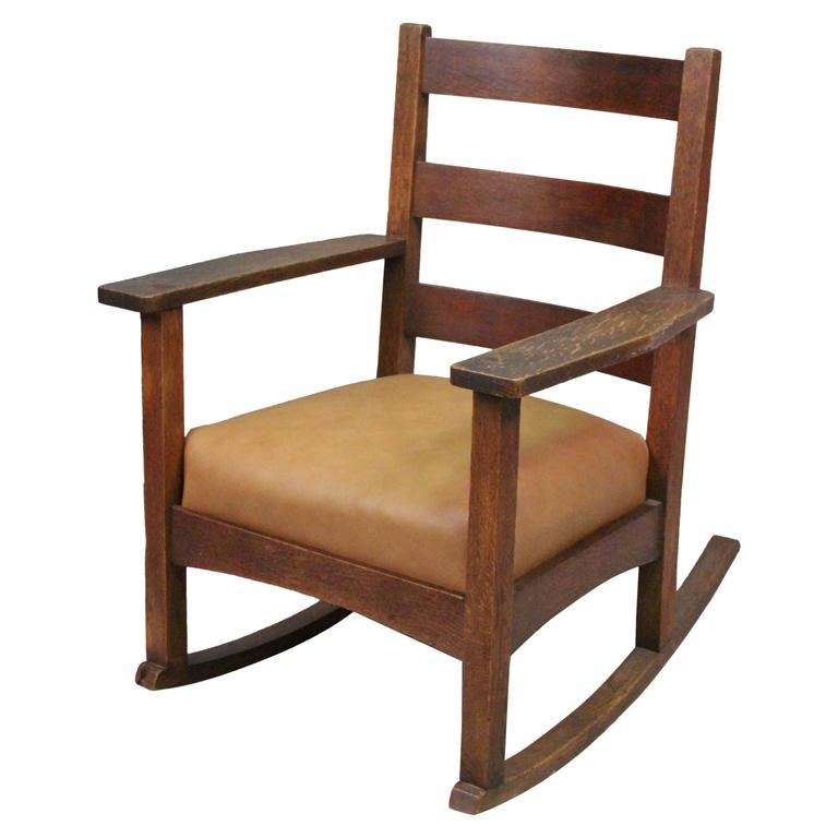 Antique Arts And Crafts Charles Stickley Rocking Chair With New Leather  Seat For Sale