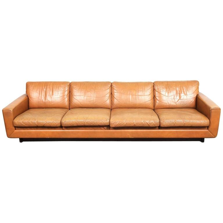 Danish mid century modern low leather four seat sofa for for Mid century modern leather sofa