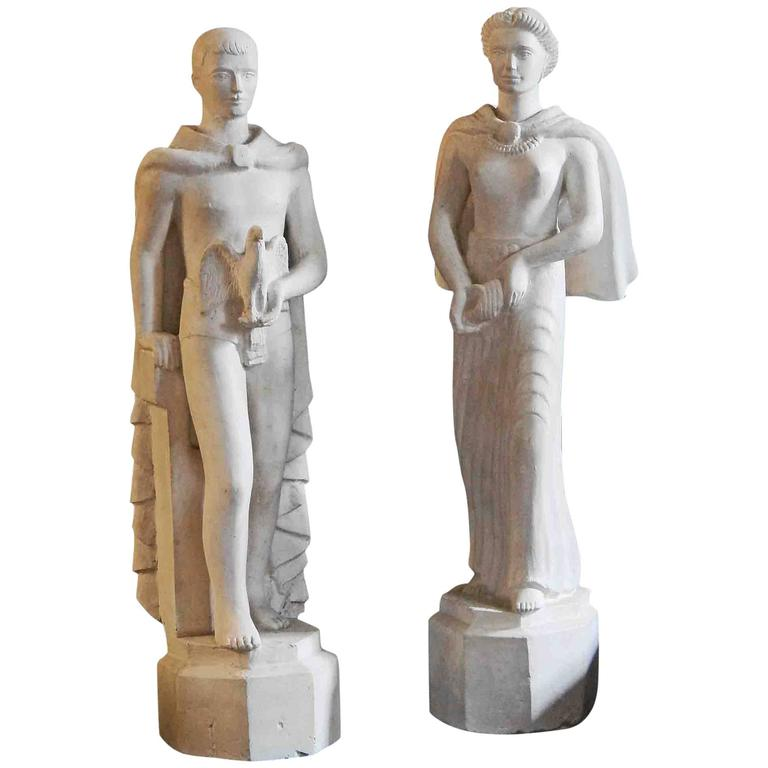 """Sea Breeze and High Sierra,"" Pair of Art Deco Sculptures for Golden Gate Expo For Sale"