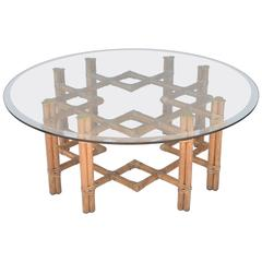 Mid-Century Round Bamboo and Brass Glass Top Cocktail Table