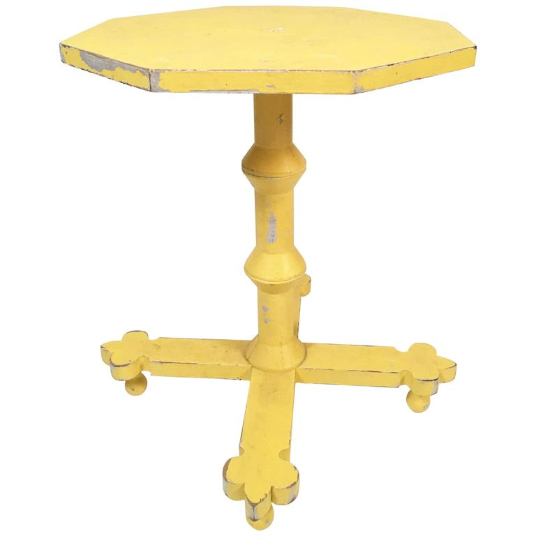 Yellow painted country side table at 1stdibs for Yellow painted table