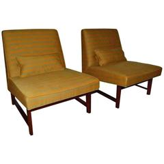 Green Striped Slipper Chair Pair by Dunbar