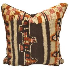Custom Pillow Cut from a Vintage Hand Loomed Wool Moroccan Rug