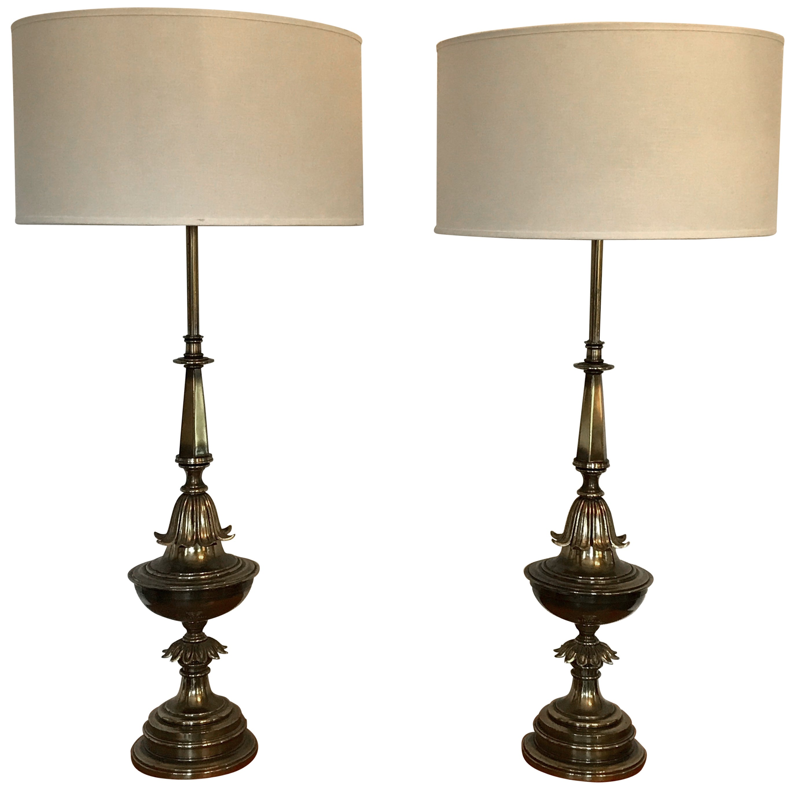 Pair of Hollywood Regency Style Brass Table Lamps, Large Scale, 1940's
