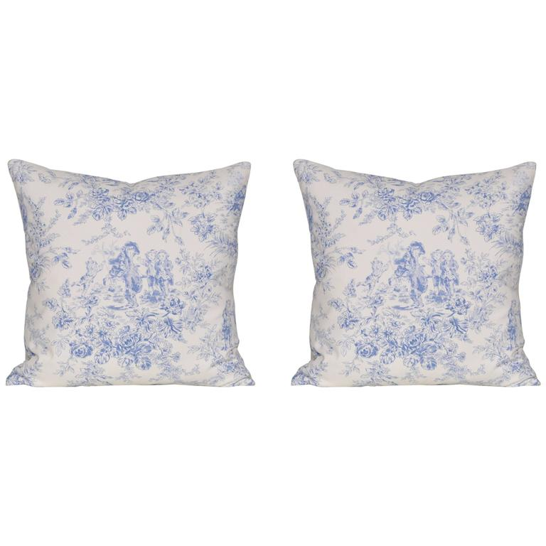 Pair of Vintage French Blue 'Toile De Jouy' Cushions Pillows with in Irish Linen