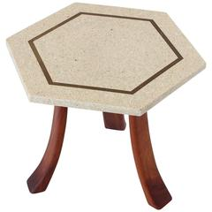 Harvey Probber Side Table in Terrazzo, Brass and Walnut