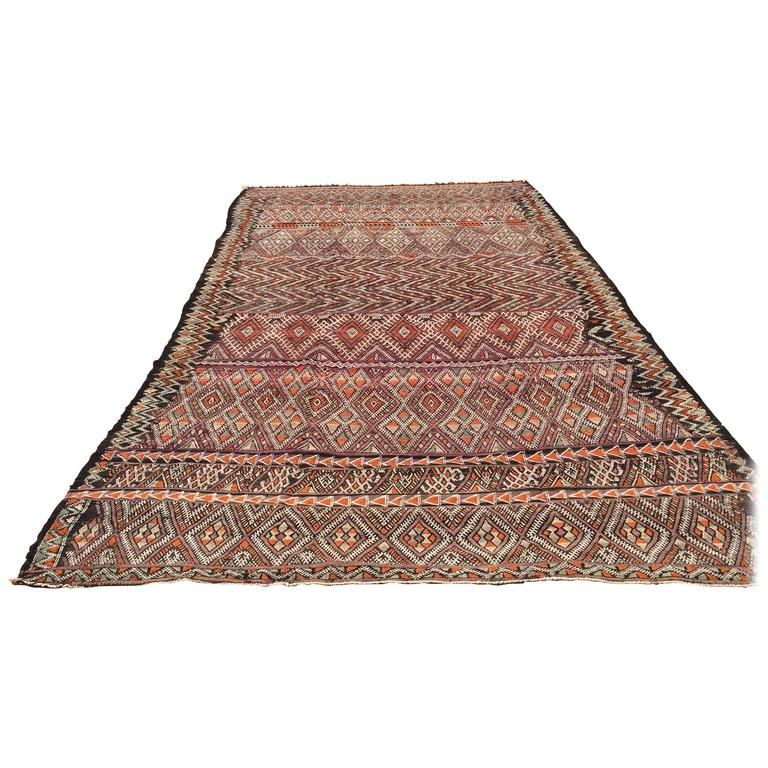 Vintage Moroccan Nomadic African Tribal Rug