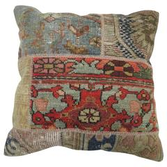 Patchwork Pillow Made from an Assortment of Vintage Rugs