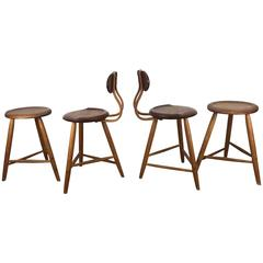 Set of Four Kai Pedersen Studio Workshop Handcrafted Stools, USA, 1983