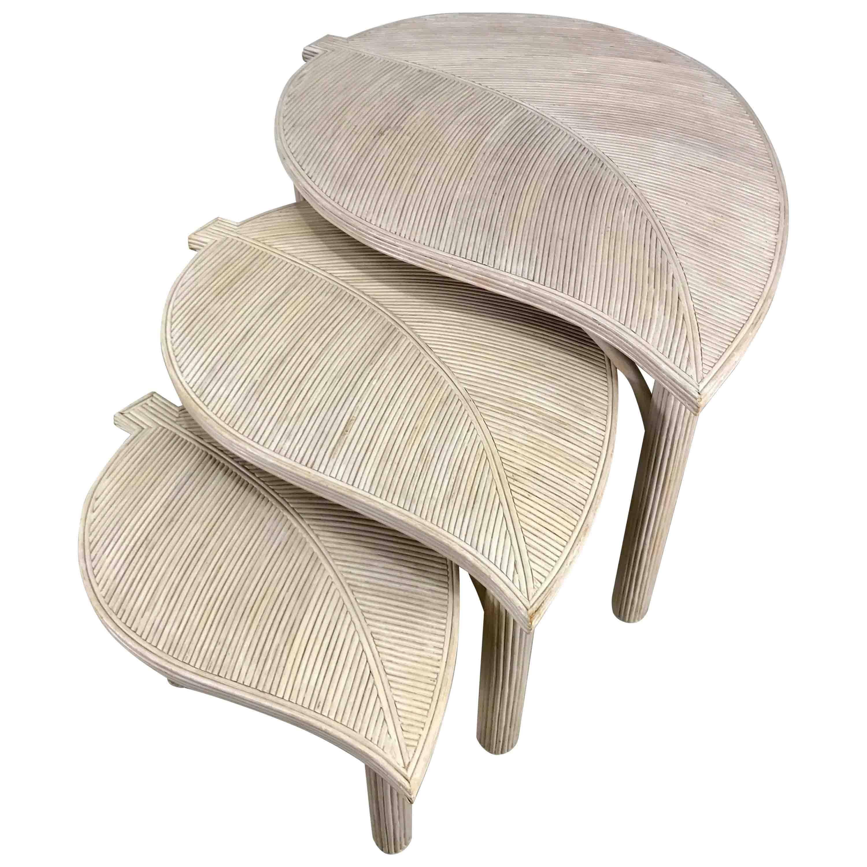 Decorative Leaf Motif Bambooreed Nesting Tables Hollywood Regency For Sale