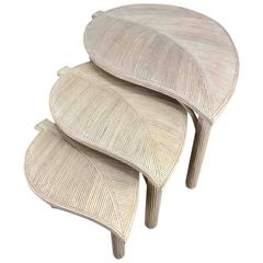 Decorative Leaf Motif Bamboo/Reed Nesting Tables Hollywood Regency