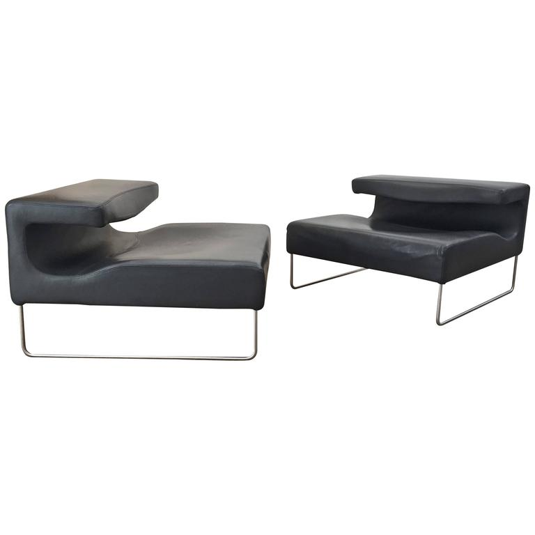 Patricia Urquiola, Pair of Leather Chairs 1